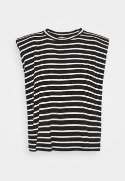 NAF NAF - EPAULETTE RAYE - T-Shirt print - noir/ecru