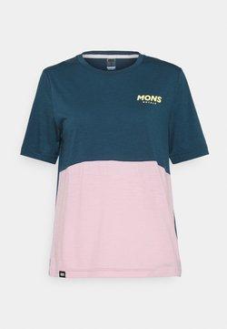 Mons Royale - REDWOOD ENDURO - T-Shirt print - dark denim/powder pink