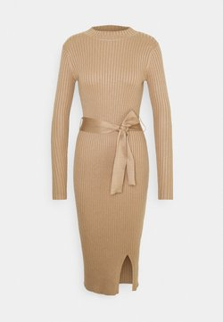 New Look - TIE WAIST MIDI DRESS - Vestido de punto - camel