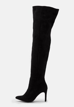 Missguided - MID HEEL OVER THE KNEE BOOTS - Kozaki na obcasie - black