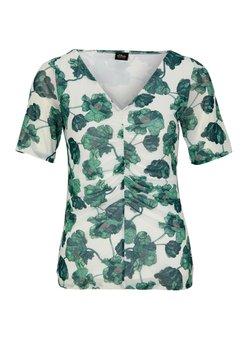 s.Oliver BLACK LABEL - MIT RAFFUNG - T-Shirt print - cream flowers aop