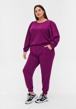 Zizzi - MIT RUNDHALS UND BALLONÄRMELN - Pitkähihainen paita - dark purple