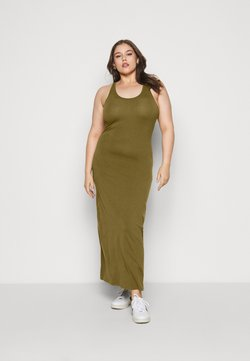 Urban Classics Curvy - LADIES LONG RACER BACK DRESS - Maxikleid - summer olive
