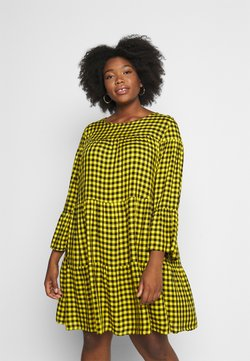 Simply Be - CHECK TIERED SMOCK DRESS - Freizeitkleid - yellow chck