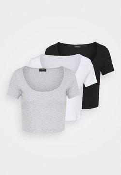 Even&Odd - 3 PACK - T-Shirt print - black/white/mottled light grey