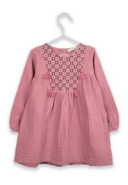Cigit - Ethnical Embroideried Muslin Dress with Tassels (2 to 7 years) - Freizeitkleid - dried rose