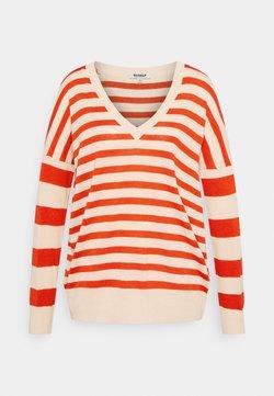 Ecoalf - LEO STRIPE WOMAN - Strickpullover - beige/red