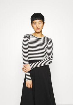 Selected Femme - SLFANNA CREW NECK TEE  - Langarmshirt - black/snow white stripes
