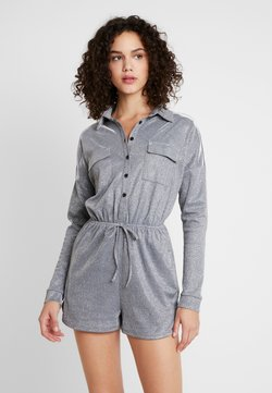 Missguided - LONG SLEEVED PLAYSUIT - Combinaison - silver