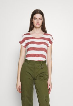 Vero Moda - VMWIDE STRIPE TOP  - T-Shirt print - marsala/snow white