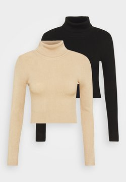 Even&Odd - 2-PACK-CROPPED TURTLE NECK - Sweter - black/sand