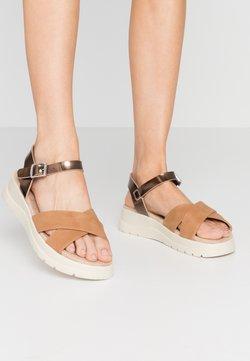 mtng - TOLTECA - Korkeakorkoiset sandaalit - super metallic bornce/matisse camel