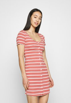 Glamorous - MAYA BUTTON THROUGH MINI DRESS WITH SCOOP NECKLINE - Etuikleid - red