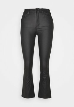Object - OBJBELLE COATED FLARED - Flared Jeans - black