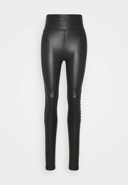 New Look Tall - WET LOOK BIKER - Leggings - Hosen - black