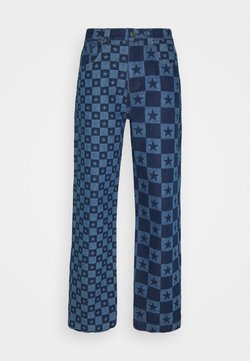 Jaded London - DISCHARGE STAR PRINT SKATE - Relaxed fit jeans - blue