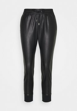 Rich & Royal - JOGG PANTS FAKE LEATHER - Stoffhose - black