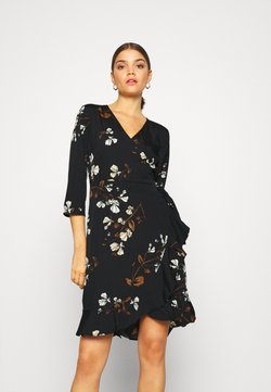 Vero Moda - VMHENNA WRAP DRESS - Vapaa-ajan mekko - black