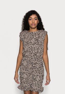New Look Petite - SHOULDER PAD RUCHED DRESS - Freizeitkleid - beige/black