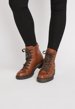 Next - TAN CHUNKY LACE UP ANKLE BOOTS - Schnürstiefelette - brown