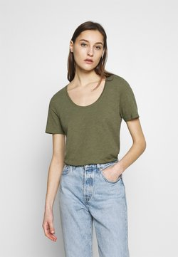 Marc O'Polo - SHORT SLEEVE ROUND NECK - T-Shirt basic - seaweed green