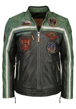TOP GUN - MIT STICKEREIEN  - Leren jas - black/green/creme