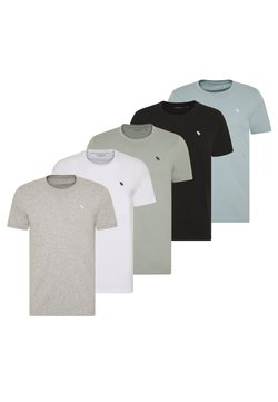 Abercrombie & Fitch - NEUTRAL CREW MULTIPACK 5 PACK - T-shirt print - black/grey/white/blue/green