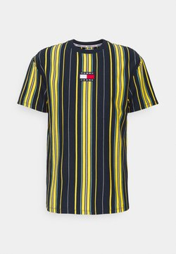 Tommy Jeans - CENTRE BADGE STRIPE TEE UNISEX - T-Shirt print - twilight navy/multi