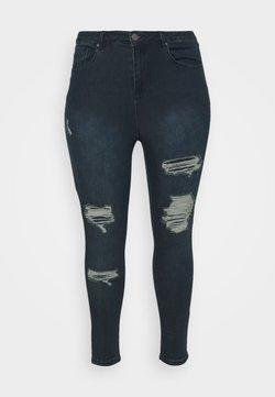 Simply Be - HIGH WAIST RIPPED SHORT - Jeans Skinny - indigo