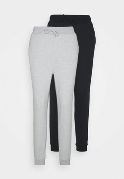 Even&Odd - 2 PACK SLIM FIT SWEATPANTS - Jogginghose - mottled light grey/black