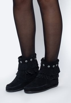 Minnetonka - DOUBLE FRINGE SIDE ZIP - Ankle Boot - black