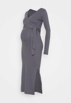 Missguided Maternity - WRAP BELTED SIDE SPLIT MIDI DRESS - Jerseykjole - grey