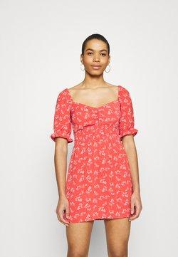 Abercrombie & Fitch - SMOCKED WAIST PAMI SHORT DRESS - Freizeitkleid - red