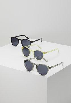 Urban Classics - SUNGLASSES CYPRES 3 PACK - Gafas de sol - black/light grey/yellow