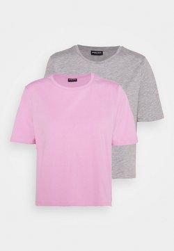 Pieces - PCRINA CROP 2 PACK - Camiseta básica - light grey melange/pastel lavender