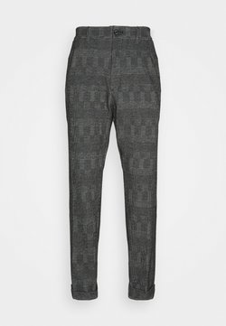 Calvin Klein Tailored - TAPERED PLEAT COMFORT CHECK - Stoffhose - black