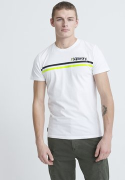 Superdry - CORE LOGO SPORT STRIPE TEE - Print T-shirt - white