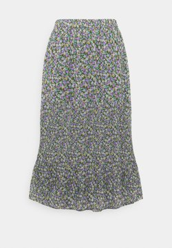 Pieces Curve - PCMOLA MIDI SKIRT - A-Linien-Rock - sea turtle/purple flowers