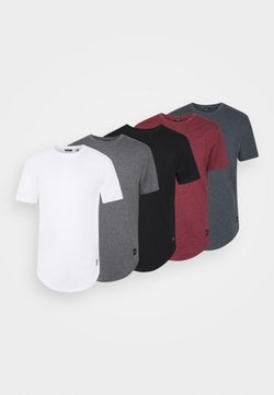 Only & Sons - MATT 5 PACK - Basic T-shirt - dark grey melange/cabernet mel