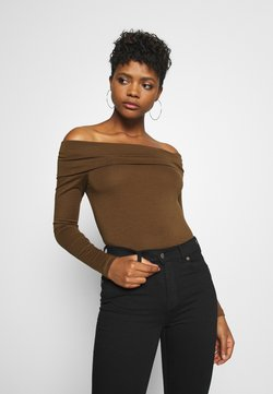 Vero Moda - VMPANDA OFF SHOULDER - Langarmshirt - dark brown