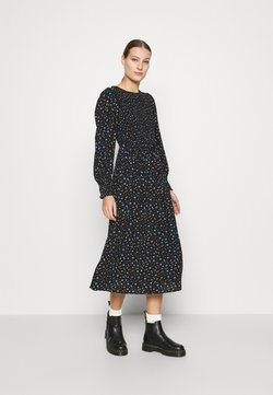 Dorothy Perkins - SMOCKED MIDI  - Freizeitkleid - black