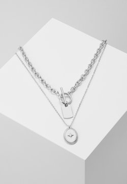 Pieces - PCDUNIO COMBI NECKLACE KEY 2 PACK - Halsband - silver-coloured