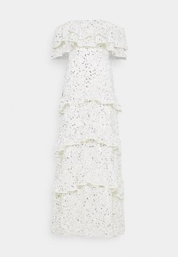 Maya Deluxe - BARDOT ALL OVER SEQUIN MAXI DRESS WITH RUFFLES - Vestido de fiesta - ivory