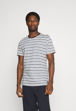 TOM TAILOR - STRIPED - T-Shirt print - offwhite/navy