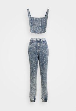 Missguided Tall - ACID WASH CORSET AND JOGGER CO ORD SET - Top - blue