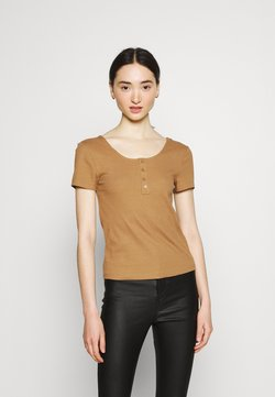 ONLY - ONLSIMPLE LIFE BUTTON - T-Shirt basic - toasted coconut