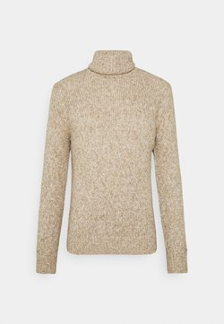 TOM TAILOR - TURTLE NECK SWEATER - Neule - white/camel