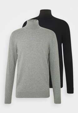 Pier One - 2 PACK - Maglione - black/mottled light grey