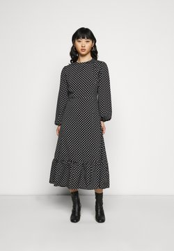 Missguided Petite - TIERED HEM MIDI DRESS POLKA - Day dress - black