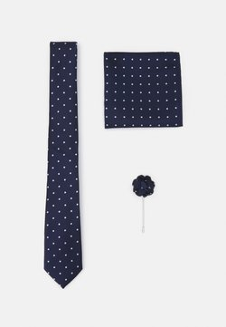 Burton Menswear London - TIE HANKIE AND FLORAL PIN SET - Krawatte - navy